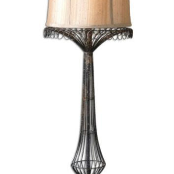 Metal Buffet Lamp - Hand Forged Body With Distressed Gold Leaf Finish,subtle Black Aging And Rustic Foot