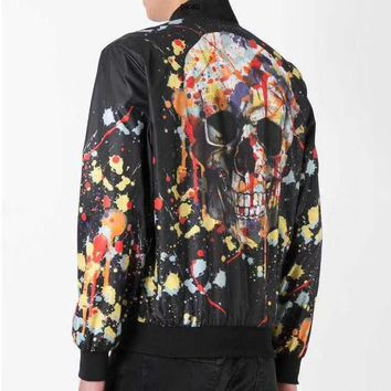 Philipp Plein Fashion Casual Pattern Print Cardigan Jacket Coat