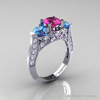 Modern 14K White Gold Three Stone Pink Sapphire Blue Topaz Diamond Solitaire Engagement Ring, Wedding Ring R250-14KWGDBTPS