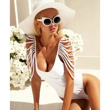 One Piece Swimsuit Women Swimwear 2018 Summer Sexy Bandage Vintage Bathing Suit Backless Monokini Bodysuit Beach Wear Swim