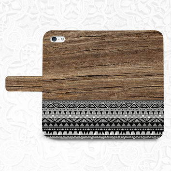 Tribal wood iPhone/smartphone flip PU leather Wallet case for iPhone 6, 6 plus, 5, 5s, 5c, iPhone 4, 4s- Samsung, Note, Nexus 6, HTC M9