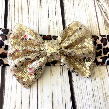 Leopard Print Sequin Bow head wrap for infants and toddlers