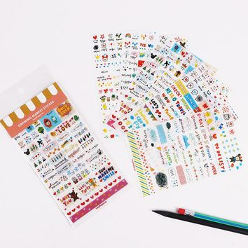 12PCS/2sets DIY Decoration Cute Kawaii Cartoon Korean Girl Sticker for Scrapbook Decoration Diary Stationery Stickers