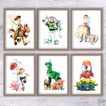 Set of 6 Toy Story print Disney wall decor Toy Story watercolor poster Kids room wall art Child room wall art Nursery room decoration V303