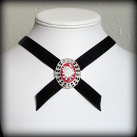 Black velvet choker with red cameo in a lacy by Arthlin on Etsy