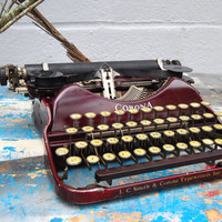 1920s Working Typewriter - Corona Duco Four Portable Manual - Maroon Purple Red - steampunk