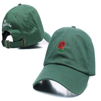 DCCKUNT Green The Hundreds Rose Embroidered Unisex Adjustable Cotton Sports Cap Hat