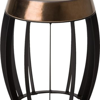 Ellis Metal Stool/Table Powedercoated Black With A Gold Ceramic Top