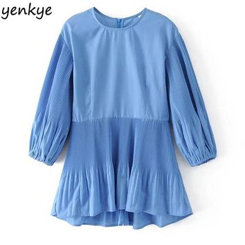 Women Pleated Blouse Solid Color O Neck Sleeve Casual Autumn Blouses Top
