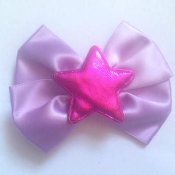 Harajuku Star Hair Bow Pastel Purple Pink Kawaii Fairy Kei Shiny Holographic