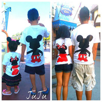 Free Two Day Shipping For US Mickey and Minnie Mouse L.O.V.E. Family of 4 T-Shirts