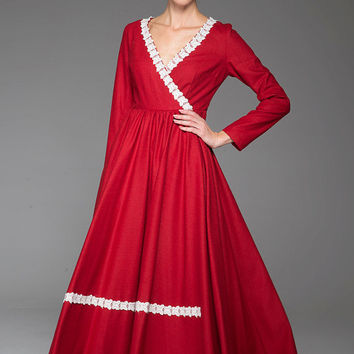 Red wool dress women maxi winter dress 1444