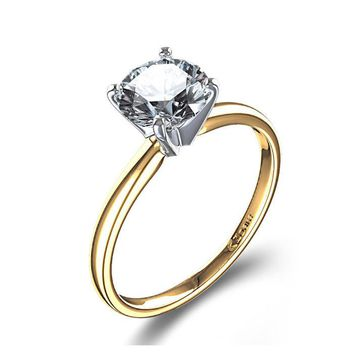 Classic Four Prong Solitaire 1.0Ct CZ Engagement Ring in 10K Yellow / White Gold