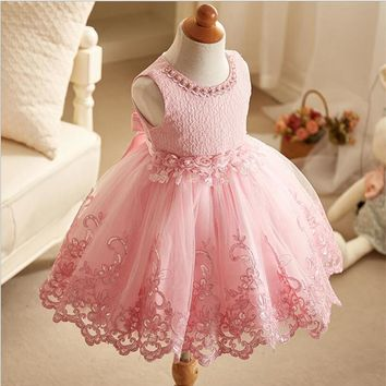 First Communion Dresses For Girls 2017 Brand Tulle Lace dress Infant Toddler Pageant Flower Girl Weddings Party tutu dresses