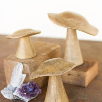 Set of 3 Decorative Wooden Mushrooms