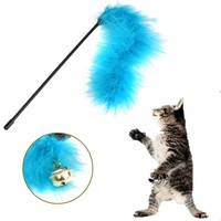 Best Quality Funny Cat Kitten Pet Teaser Turkey Feather Activity Toy Wire Chaser Wand Toys
