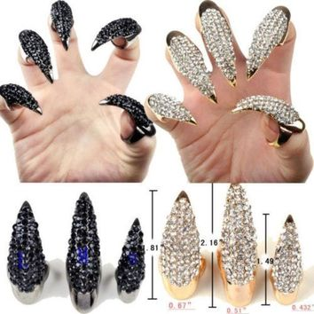 Gothic Punk Cool Rock Eagle Claw Crystal Rhinestones Finger Nail Hook Ring = 1929638916