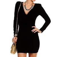 Black Long Sleeve Wrap Front Dress