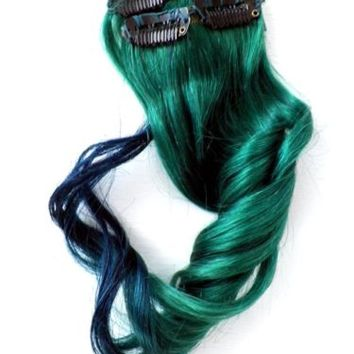 Clip in Human Hair Ombre Extensions Teal Green Emerald Blue For all hair styles