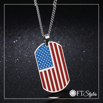 Americana Stainless Steel Dog Tag Necklace-Unisex