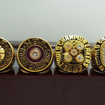 Los Angeles Lakers Basketball Championship Replica Rings 4 Years Set
