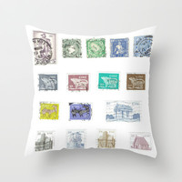 Vintage Ireland Postage Stamps Throw Pillow by Blue Specs Studio