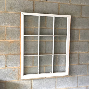 "Vintage 9 Pane Window Frame - 32W"" x 40L"", White, Rustic, Antique, Wedding, Beach Decor, Photos, Pictures, Engagement, Holiday, Business"