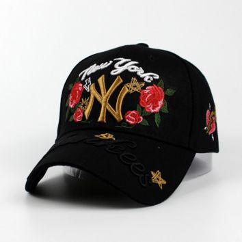 """NY""Hundreds Rose Embroidery Strap Cap Adjustable Golf Snapback Baseball Hat Cap Black"