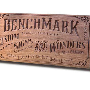 Custom Sign: Engraved Wooden Sign for Custom Text Man Cave Sign Motorcycle Sign Business Sign Walnut CT