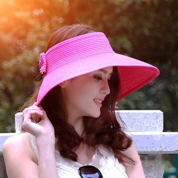 Hot Sale Summer Hats for Women Lady Foldable Roll Up Sun Beach Wide Brim Straw Visor Hat Cap