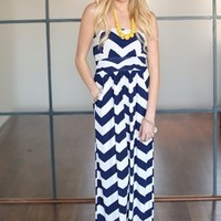 Heavenly Chevron Maxi Dress NAVY