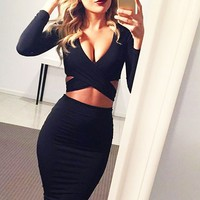 Fashion Nightclub Hollow Long Sleeved Dress Irregular Chest Cross Sexy Dress