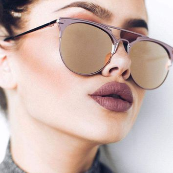Cassie Brow-Bar Round Sunglasses