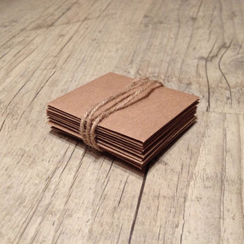 Set of 10 crafted small envelopes - craft brown paper - beige brown rustic - europeanstreetteam