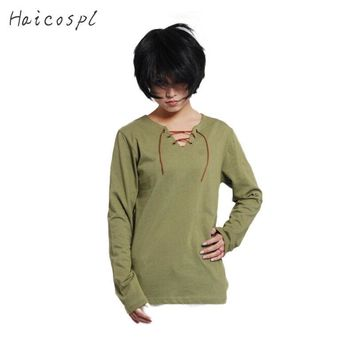 Cool Attack on Titan No  Cosplay Costume Eren Jaeger T-shirt  Anime Long Sleeve T shirt Men Boy Thin Casual Tee Green AT_90_11