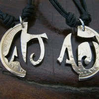 Lovers first initials, personalized just for you, interlocking pendants made with coins