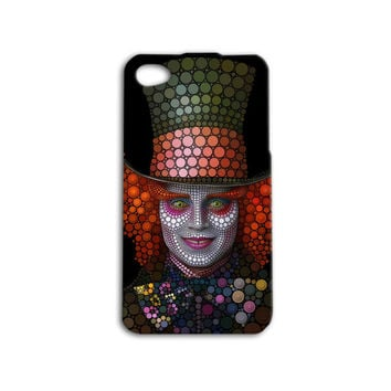 Mad Hatter Alice In Wonderland Johnny Depp Custom Case for iPhone 4/4s and iPhone 5/5s