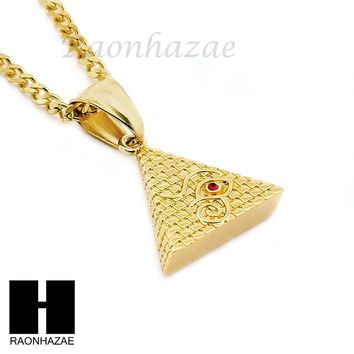 "STAINLESS STEEL EGYPTIAN PYRAMID EYE OF HERU PENDANT 24"" CUBAN NECKLACE NP007"
