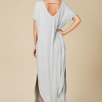 Grey Short Sleeve Casual Maxi Dress
