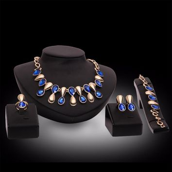 New fashion wedding Purple Blue Crystal jewelry set brides bridesmaid or prom gold color necklace earring set women