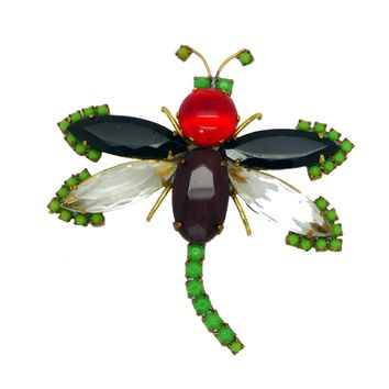 Czech Glass Husar D Dragonfly Pin Brooch