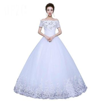 Boat Neck With Short Lace Sleeve Wedding Dress Bridal Gown