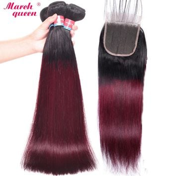 March Queen Burmese Straight Hair With Closure Ombre T1B/99J Black To Red Wine Human Hair Weave 3 Bundles With 4x4 Lace Closure