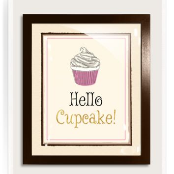 Gilded 18k Gold Hello Cupcake Vintage Expression Artwork