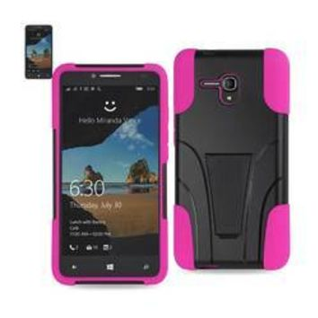 REIKO ALCATEL ONE TOUCH FIERCE XL HYBRID HEAVY DUTY CASE WITH KICKSTAND IN HOT PINK BLACK