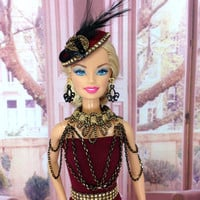 Barbie Doll Clothes - Doll Dress with Shoulder Necklace, Saucer Hat, Earrings, Purse, Belt and Shoes