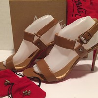 Christian Louboutin Sova 85 Sandals Pumps Heel Luggage Brown 41.5/ 11 $850