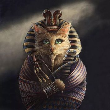 Painting Cat Cosplay Egyptian Pharaoh Poster