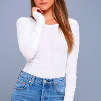 Boundary White Long Sleeve Top