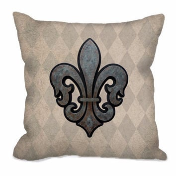 Fleur de Lis Throw Pillow on rustic tan and taupe harlequin pattern